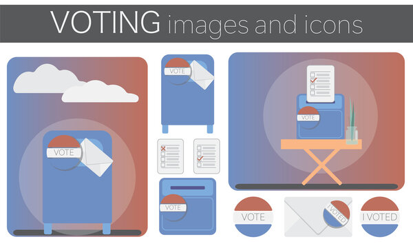 US voting images and icons showing multiple vote options including mail-in vote envelope, post office mail box, paper ballot box. Flat illustration.