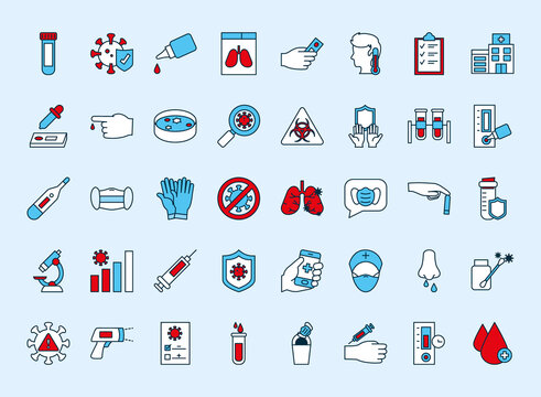 icon set of covid test, line and fill style