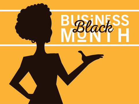 Black business month with afro woman silhouette vector design