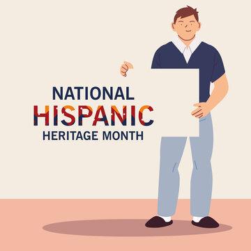 national hispanic heritage month latin man cartoon vector design
