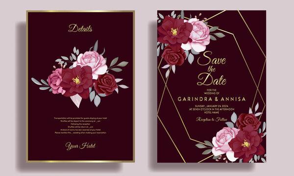 Elegant  Wedding invitation card template set with  burgundy  floral leaves Premium Vector