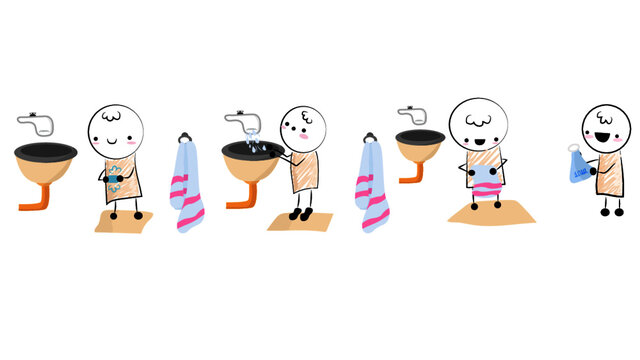 Handwashing illustrations vectors
