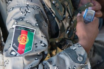 Afghan border police patch on uniform
