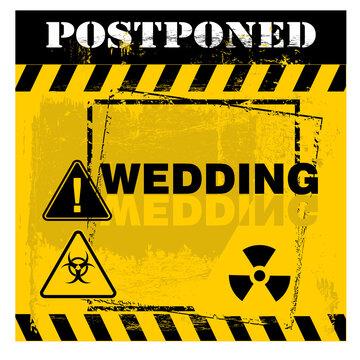 Postponed, wedding information, sign vector