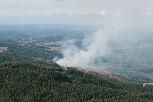 Aerial view of wildfires on the Olympic Peninsula in Washington