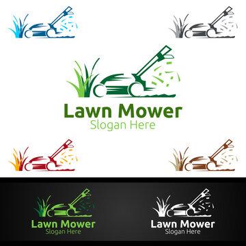 Lawn Mower Logo for Lawn Mowing Gardener Design