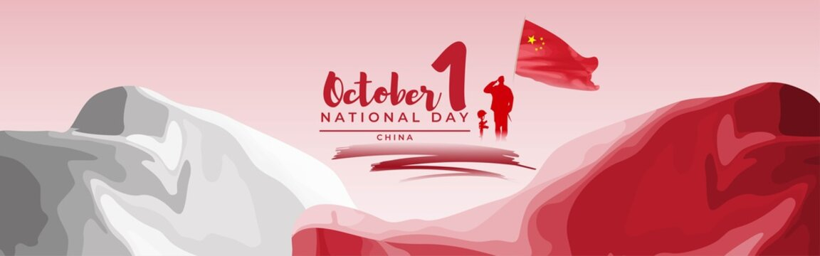 Vector illustration of China national day, 1st october, china flag, soldier with rifle and helmet, abstract wavy flag background.