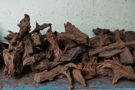 Pile of drift wood for aquarium decoration