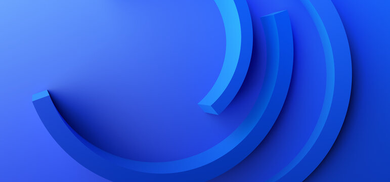 Abstract 3d render, blue background design, modern illustration