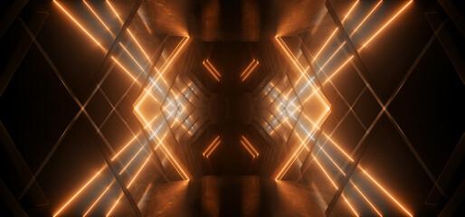Deurstickers Graffiti collage Sci Fi Modern Neon Lasers Futuristic Angular Cement Dark Alien Spaceship Room Tunnel Corridor Orange Concrete Rough Grunge Studio Garage Hangar White Lights 3D Rendering