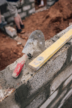 Close-up of dirty trowel in Africa