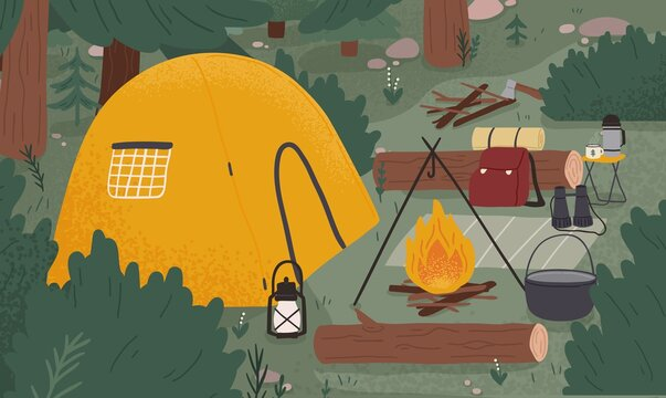 Empty forest touristic camp with tent and bonfire vector flat illustration. Equipment for adventure tourism and active lifestyle. Campsite or halt during travel, bushcraft or backpacking