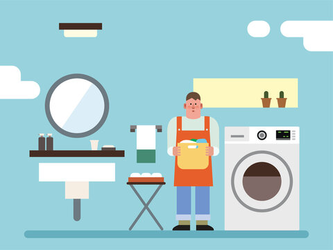 욕실. 인테리어. 청소. 세탁. 벡터 일러스트레이션
