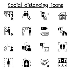 Social distancing icon set vector illustration graphic design