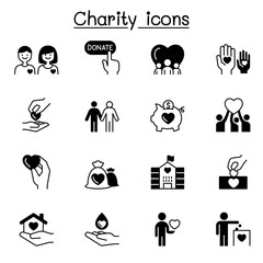 Charity & Donation icons set vector illustration graphic design
