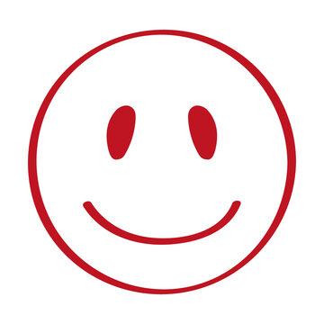 Handgezeichneter Smiley in rot