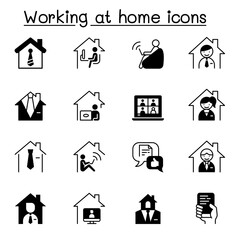 Working at home icons set vector illustration graphic design