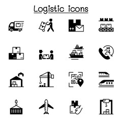 Logistic & Delivery service icon set vector illustration graphic design