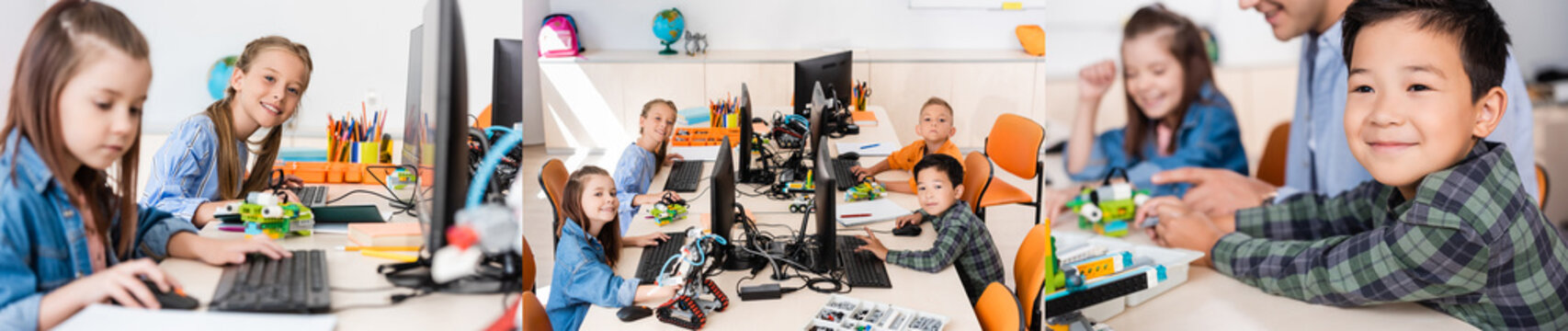 Collage of multiethnic schoolkids and teacher using computers near robots in stem school