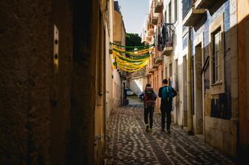 The narrow streets in Alfama in Lisbon. Autumn 2019.
