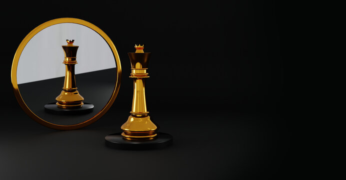 Queen chess, standing against black background. Chess game figurine. leader success business concept. Chess pieces.