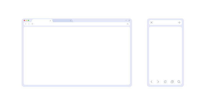 Browser mockup set in light theme for web and mobile. Browser window interface in 2 sizes for showing your site or ux app. Minimalistic frame template isolated on white background.