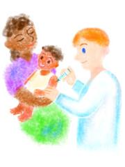 母子に注射をする医師の手描きイラスト