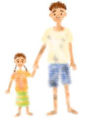 貧困の子供たちの手描きイラスト