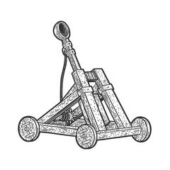 Catapult ballistic device sketch raster