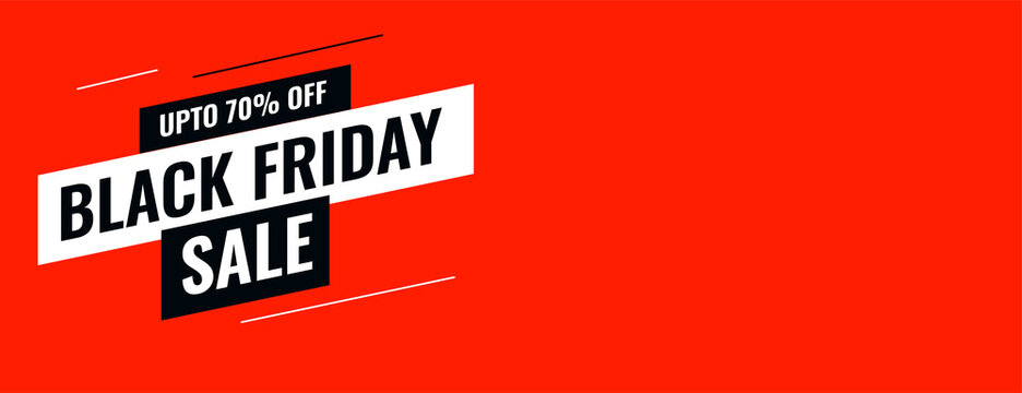 red flat style black friday sale banner template