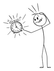 Vector cartoon stick figure drawing conceptual illustration of unhappy frustrated man or businessman holding ringing alarm clock. Concept of wake up, deadline or time management.