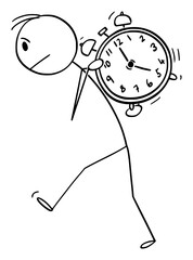 Vector cartoon stick figure drawing conceptual illustration of man man carrying heavy alarm clock on his back. Concept of time management and wake up.
