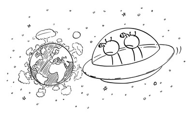 Vector cartoon stick figure drawing conceptual illustration of two funny aliens in UFO or flying saucer watching planet Earth from space, nuclear war explosion on the surface, destruction of mankind.