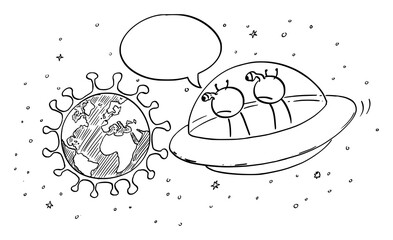 Vector cartoon stick figure drawing conceptual illustration of two funny aliens in UFO or flying saucer watching planet Earth from space. Commenting the coronavirus covid-191 pandemic. Comic strip.