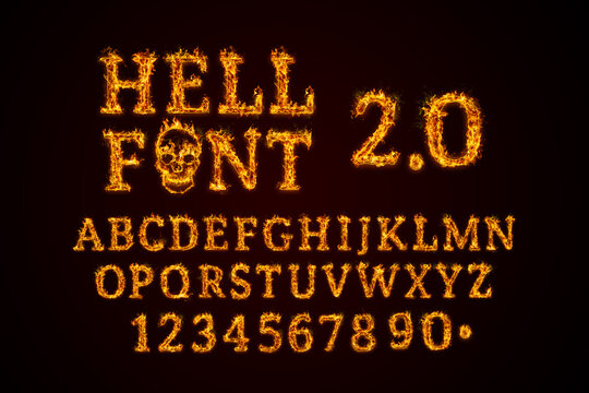 Hell Font 2.0 set. Fire flames on black isolated background, realistick fire effect with sparks. Part of alphabet set