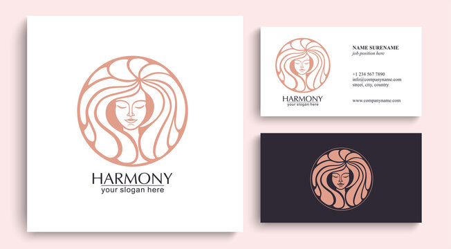 Female face logo. Emblem for a beauty or yoga salon. Style of harmony and beauty. Vector illustration