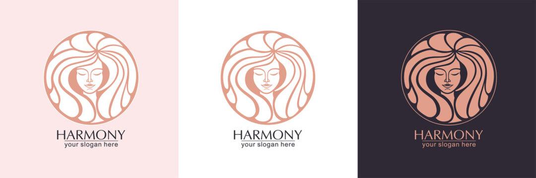 Female face logo. Emblem for a beauty or yoga salon. Style of harmony and beauty. Vector illustration
