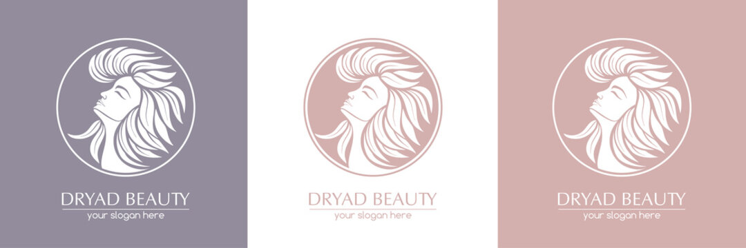 Dryad. Female face logo in profile with leaf hair. Emblem for a beauty or yoga salon. Style of harmony and beauty. Vector illustration