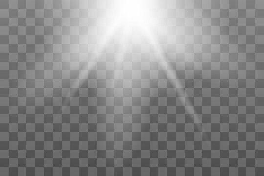 Shining sun glare rays, lens flare vector illustration. Sunlight glowing png effect. White beam sunrays sky background