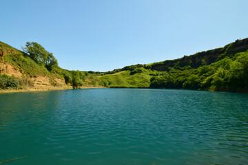 View of beautiful karst deep mountain lake