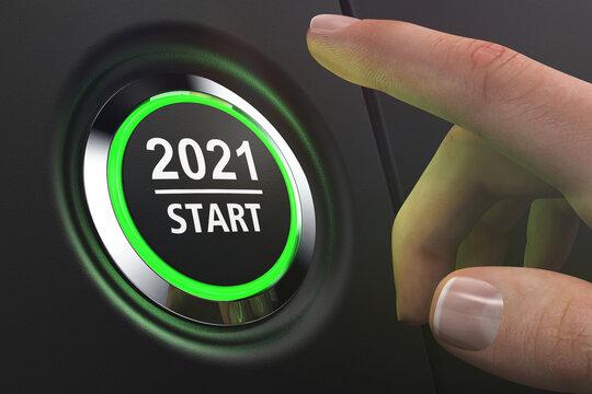 Button 2021 Start - LED grün - Hand