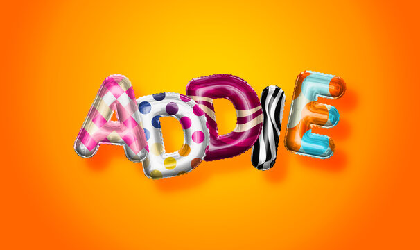 Addie female name, colorful letter balloons background