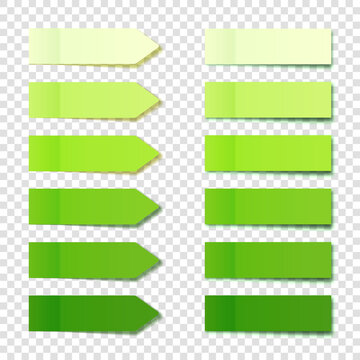 Realistic green sticky notes collection. Arrow flag tabs. Post note stickers. Colorful sticky paper sheets. Vector illustration.