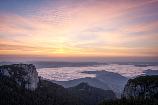 Beautiful sunrise in Ceahlau Mountains, Romania
