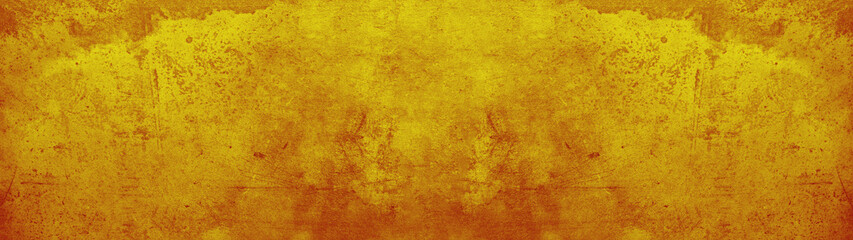 Abstract yellow watercolor painted old aged retro vintage paper texture background banner panorama