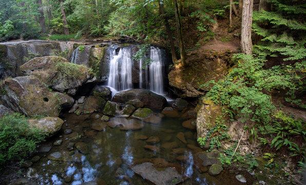Whatcom creek and bridge at whatcom Falls park in Bellingham Washington state