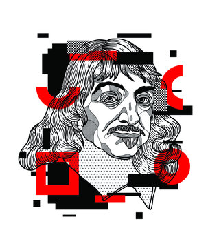 Crazy red style. Rene Descartes. Classical
