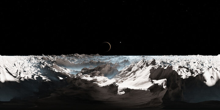 360 degree Europa surface, mysterious icy moon of Jupiter, equirectangular projection, environment map. HDRI spherical panorama