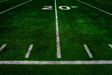 Football Field Green Yard Markers to Goal Line Touchdown Endzone Game Competition