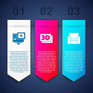 Set Action extreme camera, 3D word and Cinema chair. Business infographic template. Vector.